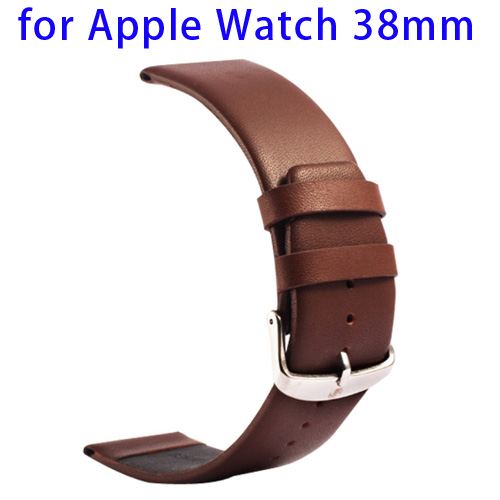 Kakapi Subtle Texture Classic Buckle Pattern Genuine Leather Wristband for Apple Watch 38mm (Dark Brown)