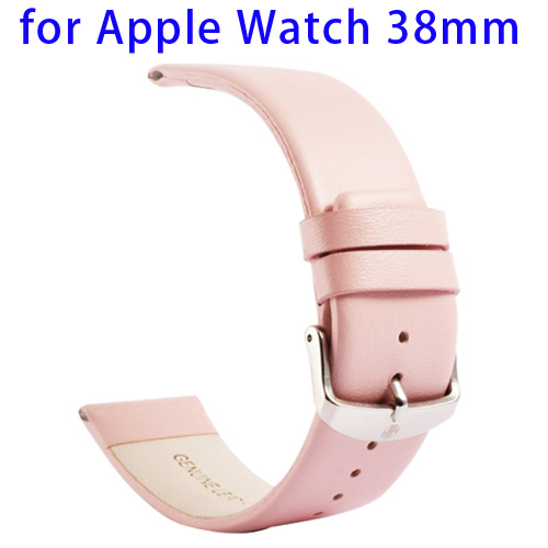 Kakapi Subtle Texture Classic Buckle Pattern Genuine Leather Wristband for Apple Watch 38mm (Pink)