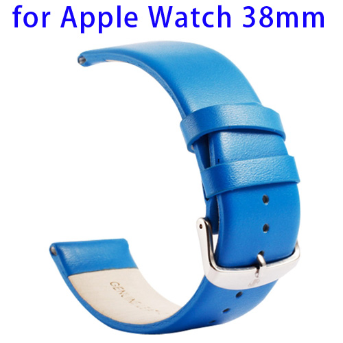 Kakapi Subtle Texture Classic Buckle Pattern Genuine Leather Wristband for Apple Watch 38mm (Blue)