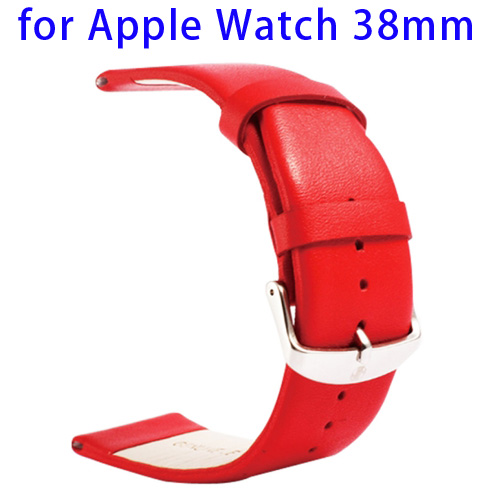 Kakapi Subtle Texture Classic Buckle Pattern Genuine Leather Wristband for Apple Watch 38mm (Red)