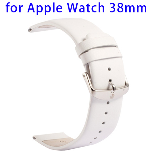Kakapi Subtle Texture Classic Buckle Pattern Genuine Leather Wristband for Apple Watch 38mm (White)