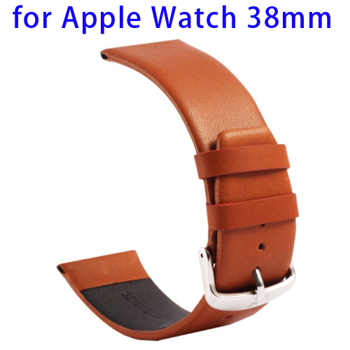 Kakapi Subtle Texture Classic Buckle Pattern Genuine Leather Wristband for Apple Watch 38mm (Brown)