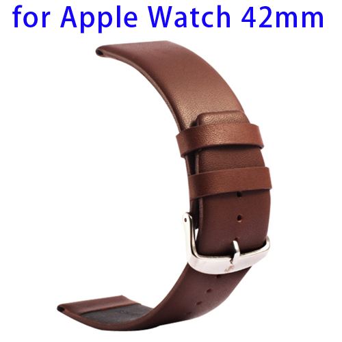 Kakapi Subtle Texture Genuine Leather Wristband for Apple Watch 42mm with Classic Buckle (Dark Brown)