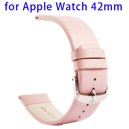 Kakapi Subtle Texture Genuine Leather Wristband for Apple Watch 42mm with Classic Buckle (Pink)