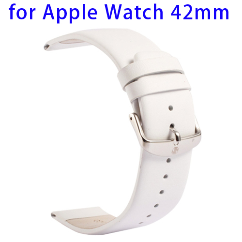 Kakapi Subtle Texture Genuine Leather Wristband for Apple Watch 42mm with Classic Buckle (White)