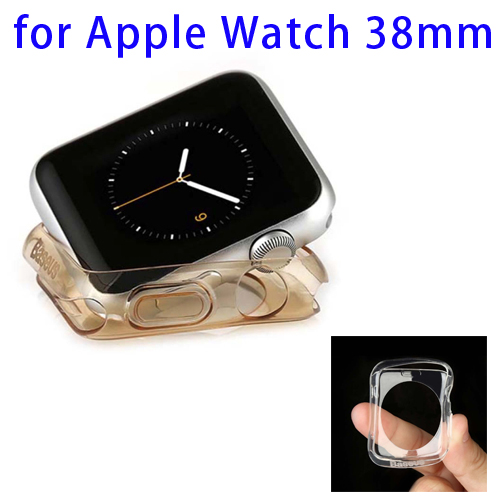 Baseus 0.65mm Ultra-thin Transparent TPU Protective Case for Apple Watch 38mm (Gold)