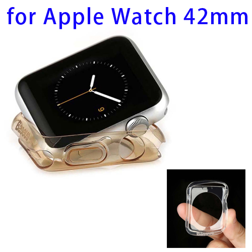 Baseus 0.65mm Ultra-thin Transparent TPU Protective Case for Apple Watch 42mm (Gold)