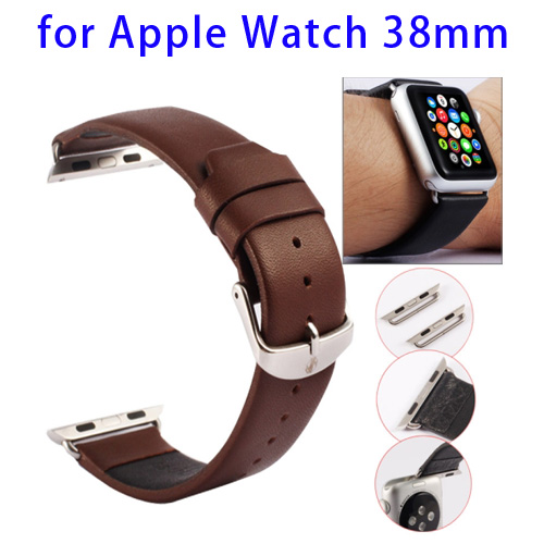 Kakapi Texture Genuine Leather Watchband for Apple Watch 38mm with Connector and Classic Buckle (Coffee)