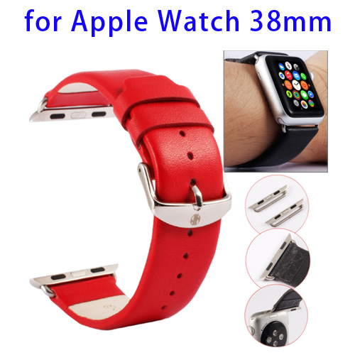 Kakapi Texture Genuine Leather Watchband for Apple Watch 38mm with Connector and Classic Buckle (Red)