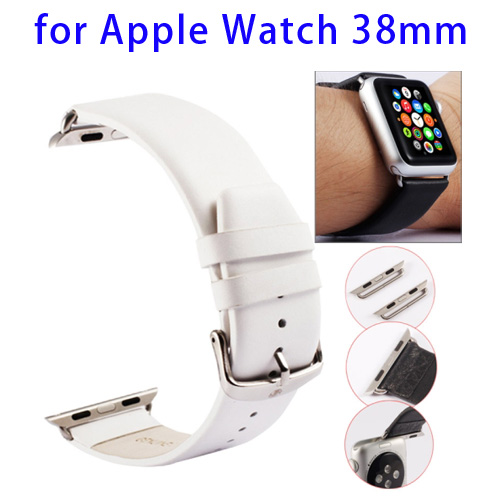 Kakapi Texture Genuine Leather Watchband for Apple Watch 38mm with Connector and Classic Buckle (White)