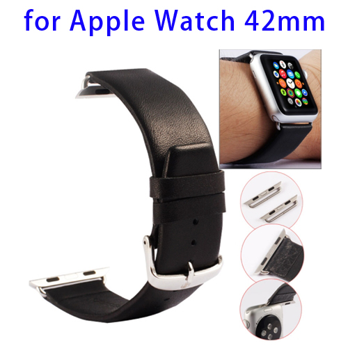Kakapi Texture Genuine Leather Watchband for Apple Watch 42mm with Connector and Classic Buckle (Black)