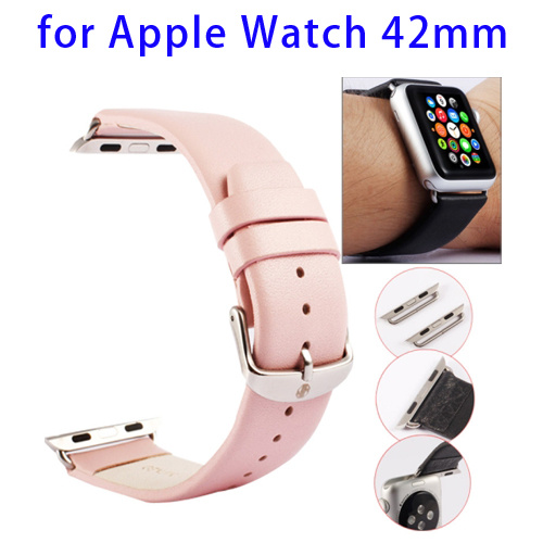 Kakapi Texture Genuine Leather Watchband for Apple Watch 42mm with Connector and Classic Buckle (Pink)