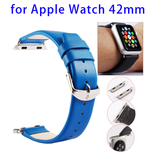 Kakapi Texture Genuine Leather Watchband for Apple Watch 42mm with Connector and Classic Buckle (Blue)