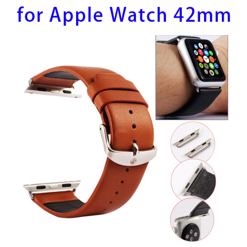 Kakapi Texture Genuine Leather Watchband for Apple Watch 42mm with Connector and Classic Buckle (Brown)