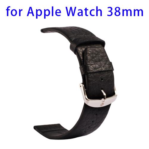Luxury Style Kakapi Buffalo Genuine Leather Watchband for Apple Watch 38mm (Black)