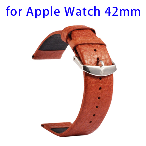 Luxury Style Kakapi Buffalo Genuine Leather Watchband for Apple Watch 42mm (Brown)