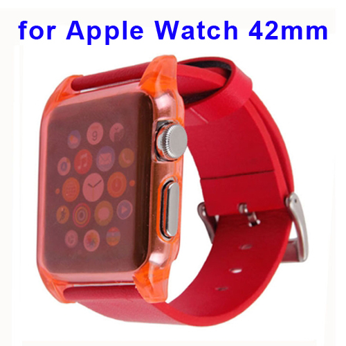 Ultra Thin Crystal Clear Transparent PC Case + Leather Watch Band for Apple Watch 42mm (Red)