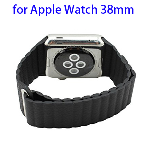 Loop with Magnetic Closure Design Genuine Leather Watchband for Apple Watch 38mm (Black)