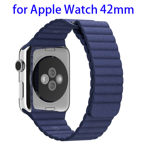 Loop with Magnetic Closure Design Genuine Leather Watchband for Apple Watch 42mm (Dark Blue)