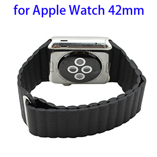 Loop with Magnetic Closure Design Genuine Leather Watchband for Apple Watch 42mm (Black)