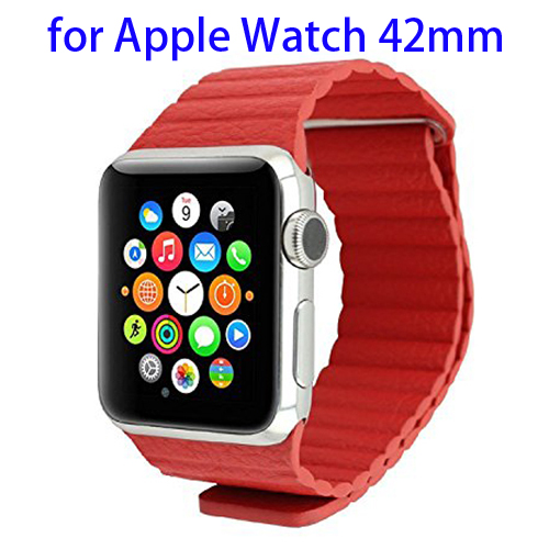 Loop with Magnetic Closure Design Genuine Leather Watchband for Apple Watch 42mm (Red)