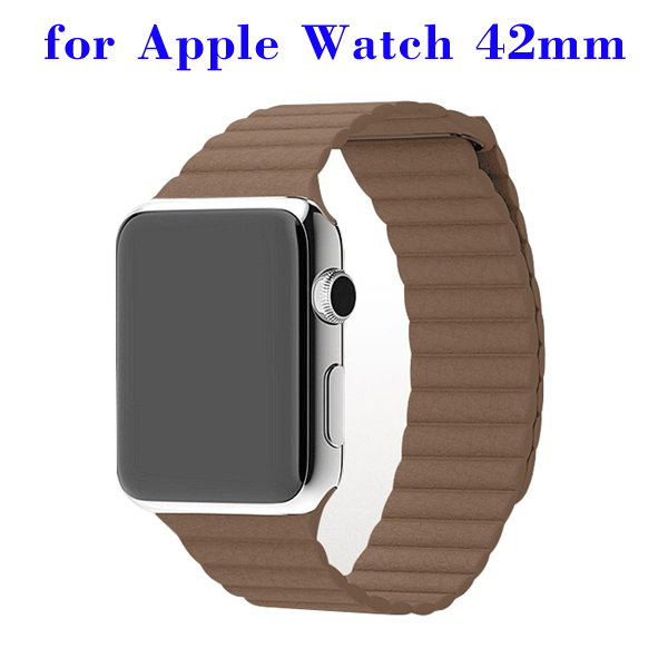 Loop with Magnetic Closure Design Genuine Leather Watchband for Apple Watch 42mm (Khaki)