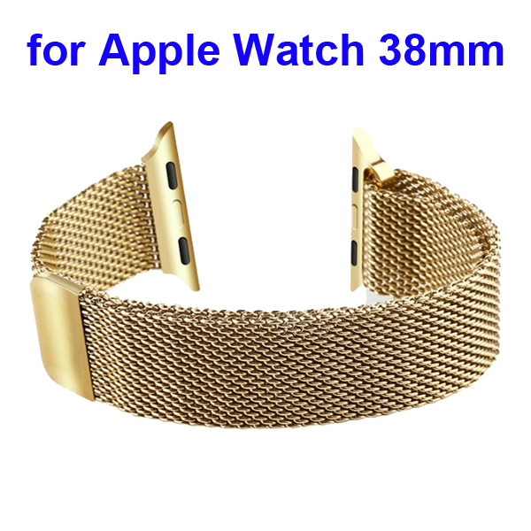 Magnetic Refined Stainless Steel Watchband for Apple Watch 38mm with Metal Adapter (Gold)