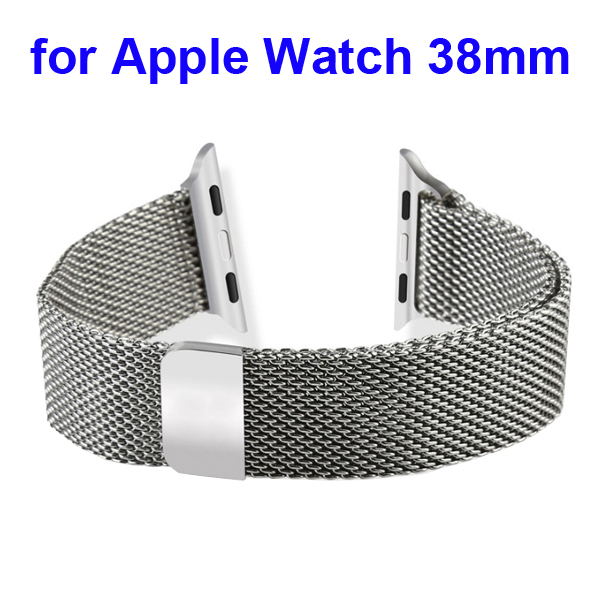 Magnetic Refined Stainless Steel Watchband for Apple Watch 38mm with Metal Adapter (Silver)