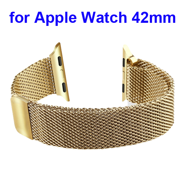 Magnetic Refined Stainless Steel Watchband for Apple Watch 42mm with Metal Adapter (Gold)