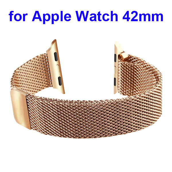 Magnetic Refined Stainless Steel Watchband for Apple Watch 42mm with Metal Adapter (Rose Gold)