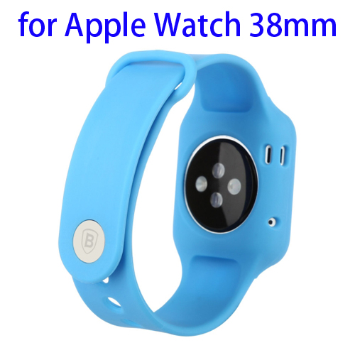 Baseus Fresh Color Plus Series Soft TPU Watchband Sport Case for Apple Watch 38mm (Blue)