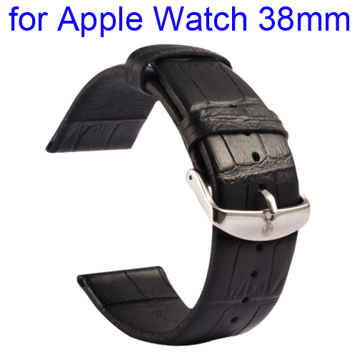 Kakapi Crocodile Texture Classic Buckle Genuine Leather Watchband for Apple Watch 38mm (Black)