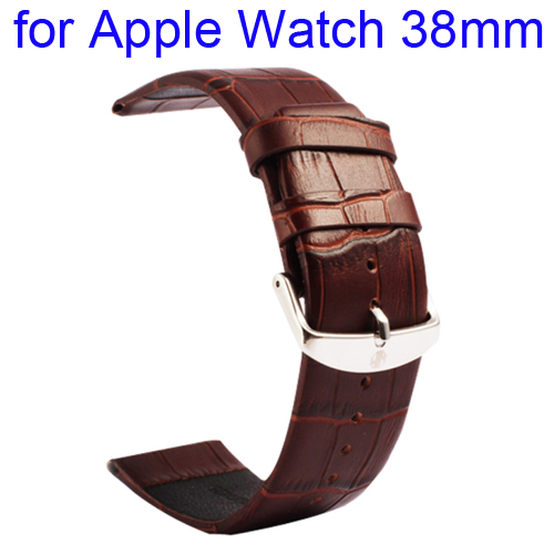 Kakapi Crocodile Texture Classic Buckle Genuine Leather Watchband for Apple Watch 38mm (Coffee)