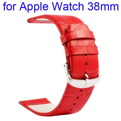 Kakapi Crocodile Texture Classic Buckle Genuine Leather Watchband for Apple Watch 38mm (Red)