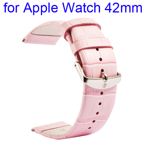 Kakapi Crocodile Texture Classic Buckle Genuine Leather Watchband for Apple Watch 42mm (Pink)