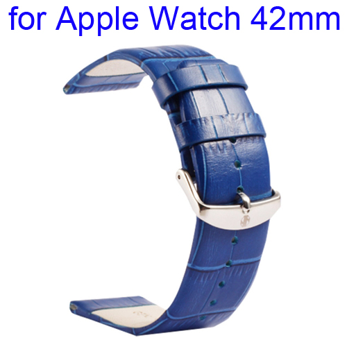 Kakapi Crocodile Texture Classic Buckle Genuine Leather Watchband for Apple Watch 42mm (Blue)