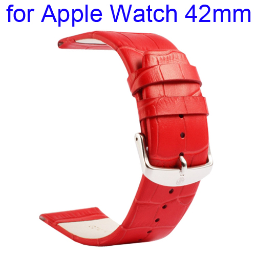 Kakapi Crocodile Texture Classic Buckle Genuine Leather Watchband for Apple Watch 42mm (Red)