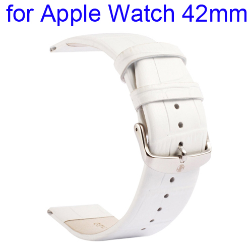 Kakapi Crocodile Texture Classic Buckle Genuine Leather Watchband for Apple Watch 42mm (White)