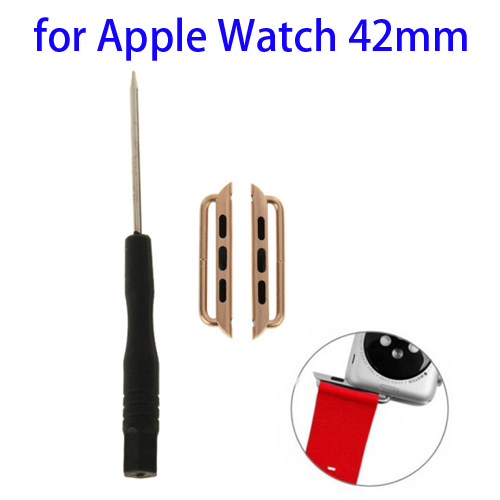 Metal Strap Connector for Apple Watch 42mm with Screwdrivers Tool, Pack of 2 (Gold)
