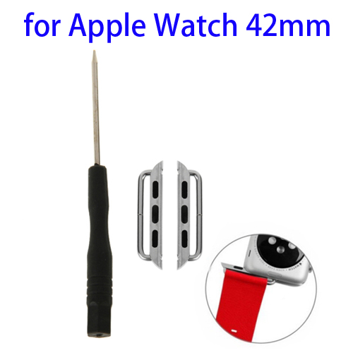 Metal Strap Connector for Apple Watch 42mm with Screwdrivers Tool, Pack of 2 (Silver)
