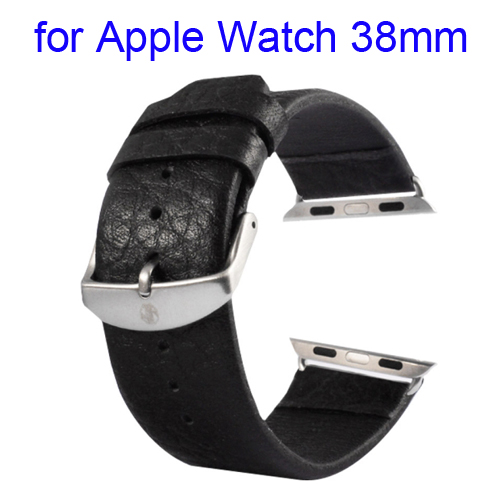 Kakapi Buffalo Hide Brushed Buckle Genuine Leather Wristband for Apple Watch 38mm with Connector (Black)