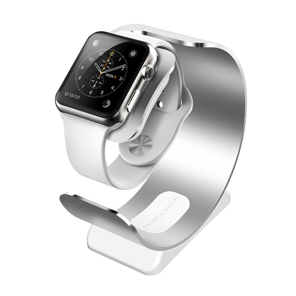 Beautiful Round Shape and Breathable Aluminum Charging Holder Stand for Apple Watch (Silver)