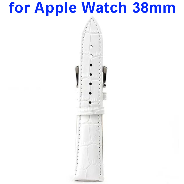 Crocodile Texture Genuine Leather Wristbands Replacement Wrist Band Strap for Apple Watch 38mm (White)