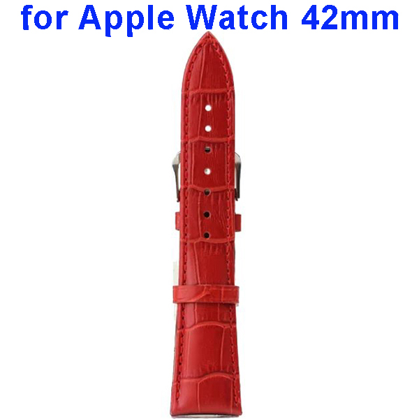 Crocodile Texture Genuine Leather Wristbands Replacement Wrist Band Strap for Apple Watch 42mm (Red)