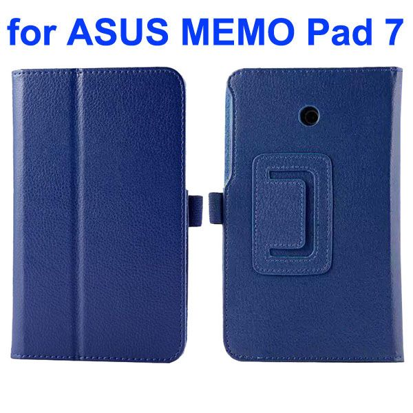 Litchi Texture Flip Stand Leather Case for Asus MeMO Pad 7 ME70CX (Dark Blue)