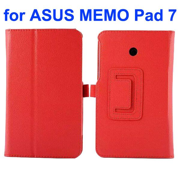 Litchi Texture Flip Stand Leather Case for Asus MeMO Pad 7 ME70CX (Red)