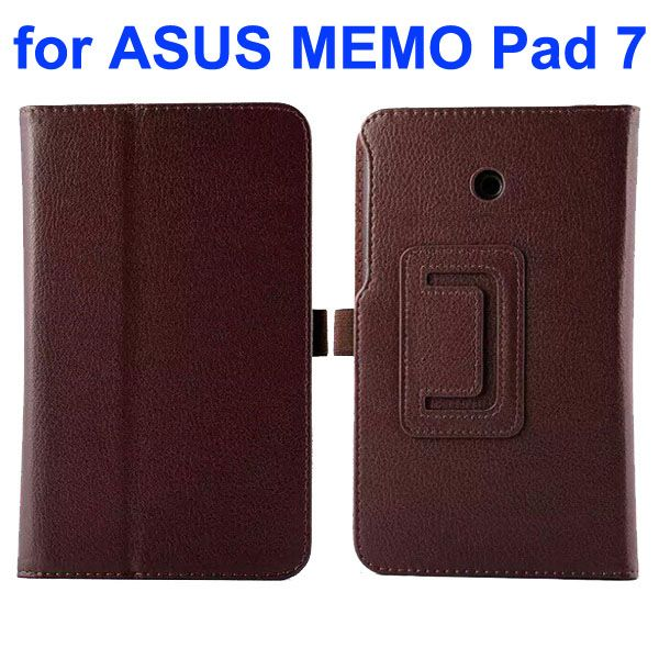 Litchi Texture Flip Stand Leather Case for Asus MeMO Pad 7 ME70CX (Brown)