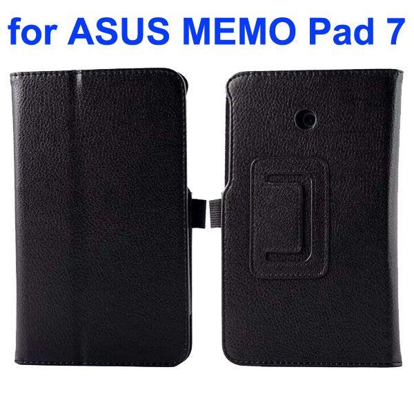 Litchi Texture Flip Stand Leather Case for Asus MeMO Pad 7 ME70CX (Black)