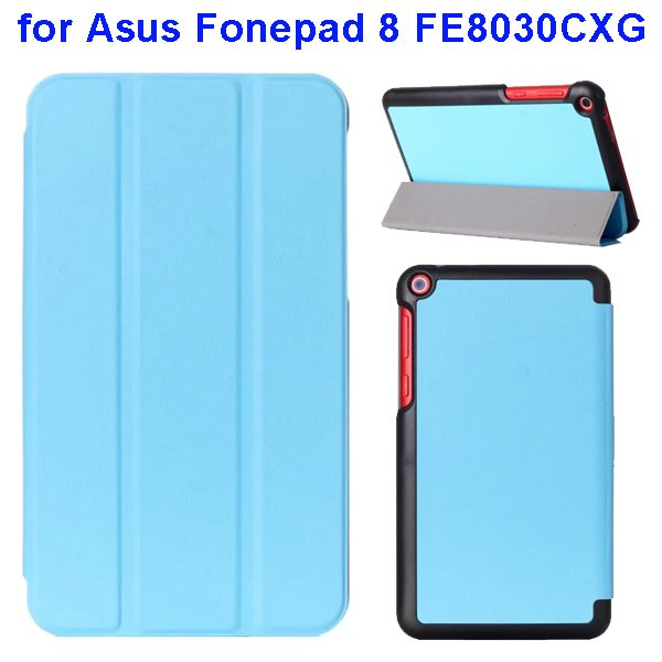 Karst Texture Three Folio Flip Leather Cover for Asus Fonepad 8 FE8030CXG with Stand(Baby Blue)