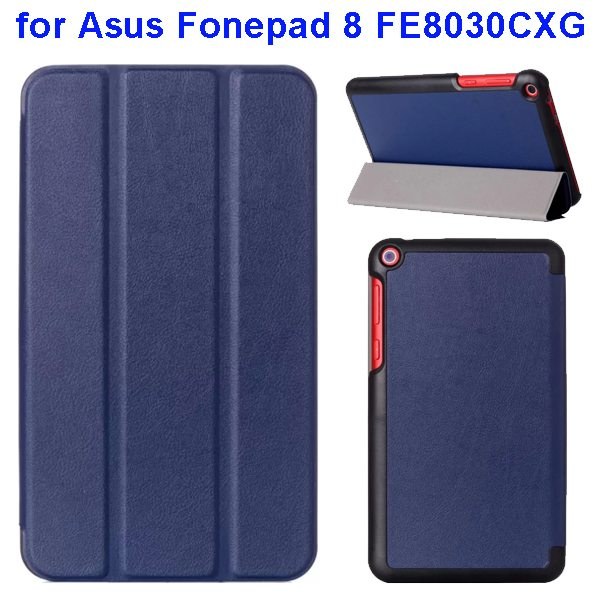 Karst Texture Three Folio Flip Leather Cover for Asus Fonepad 8 FE8030CXG with Stand(Dark Blue)